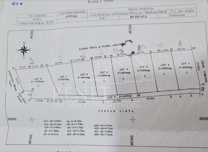 Teren casa 6.300 mp Budeasa Mica (parcele de la 680-1000mp). Comision 0%.